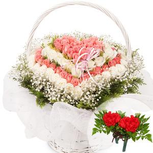 분홍 백장미 하트바구니