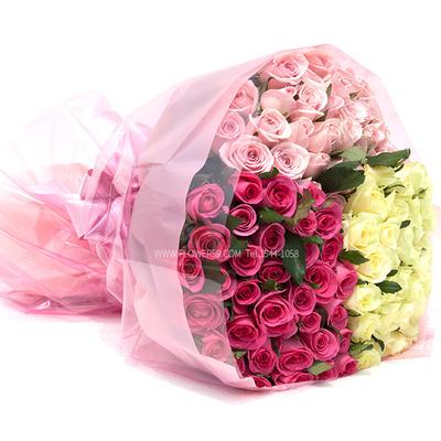 [장미100송이]삼색꽃다발B