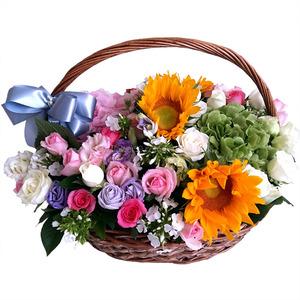 장미혼합꽃바구니C